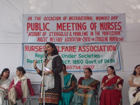 Maya speaking at Public Meeting of Nurses